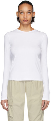 John Elliott White High Twist Cotton Classic Long Sleeve T-Shirt