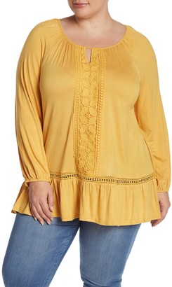 Forgotten Grace Crochet Trim Ruffle Hem Tunic (Plus Size)