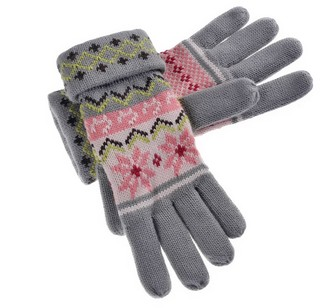 Yan & Lei Women's Snowflakes and Cats Knitted Winter Gloves Grey