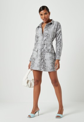 Missguided White Faux Leather Snake Print Oversized Shirt Dress