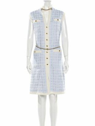 Gucci Tweed Pattern Knee-Length Dress w/ Tags Blue