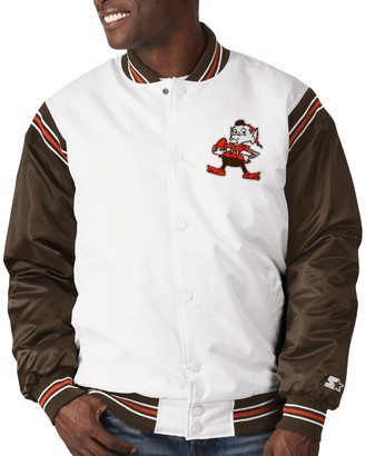 Men's Starter White/Brown Cleveland Browns Historic Logo Renegade Satin Varsity Full-Snap Jacket