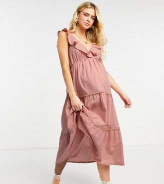 ASOS DESIGN Maternity dobby tiered midi skater sundress in dusty pink