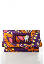 Emilio Pucci Multi Colored Nylon Flap Closure Abstract Print New With Tag Clutch