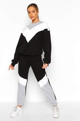 boohoo Colour Block Oversized Sweater Tracksuit