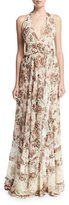 Haute Hippie Johnny Guitar Floral Silk Halter Maxi Dress, Casablanca