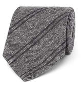 Tom Ford 8cm Striped Silk And Wool-blend Tie - Gray