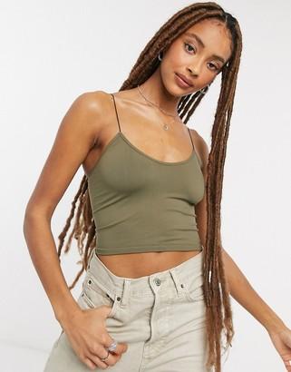 Free People brami skinny strap crop top in green