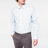 Paul Smith Men's Classic-Fit Sky Blue 'Tree' Print Cotton Shirt