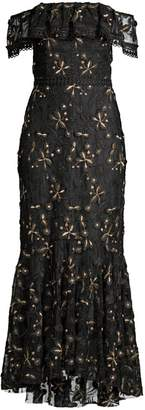 Shoshanna Metallic Floral Off-The-Shoulder Flounce Dress