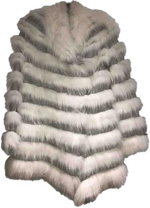 Yves Salomon White Fox Coat for Women
