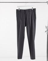 Asos Design DESIGN wedding skinny wool mix suit trousers in charcoal herringbone
