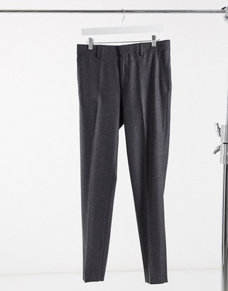 ASOS DESIGN wedding skinny wool mix suit trousers in charcoal herringbone