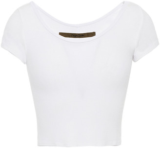 Enza Costa Cropped Ribbed Jersey T-shirt