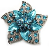 Avalaya 3D Enamel Crystal Flower Brooch (Aqua & Light )