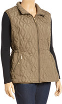 Weatherproof Safari Khaki Diamond Quilted Vest - Plus