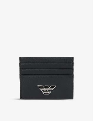 Emporio Armani Metal eagle leather cardholder