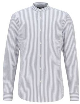 HUGO BOSS Slim Fit Dress Shirt In Striped Cotton Seersucker - White