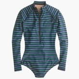 J.Crew Long-sleeve one-piece swimsuit in multistripe