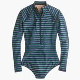 J.Crew Long torso long-sleeve one-piece swimsuit in multistripe