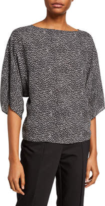 Michael Kors Leopard-Print Silk Boat-Neck Top