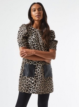 Dorothy Perkins Womens Brown Leopard Print Pocket Tunic, Brown