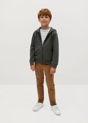 MANGO Zipper organic cotton sweater khaki - 5 - Kids