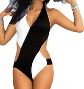 justbuy-us Women's One Piece Black and white cross Monokini Swimsuit