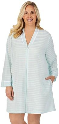 Stan Herman Plus Size Textured Stripe Zip-Up Robe