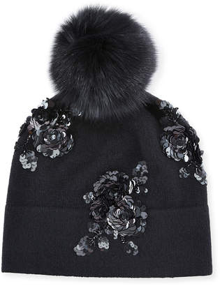 Sofia Cashmere Cashmere Floral Sequin Beanie Hat w/ Fur Pompom