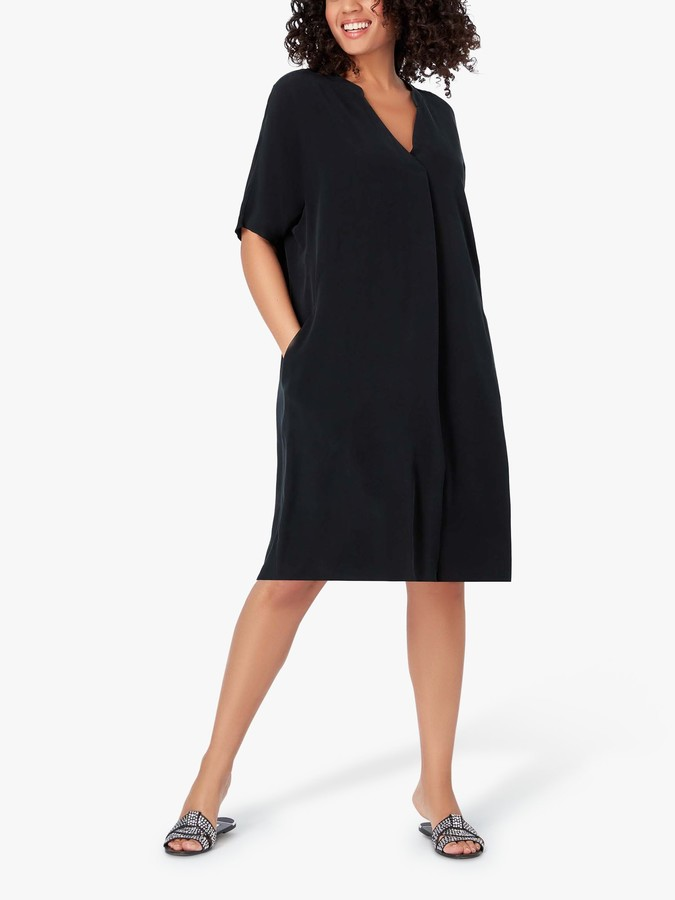 Live Unlimited Curve Cupro Blend Pocket Dress, Black