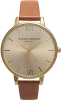 Olivia Burton OB13BD09 big dial gold-plated and leather watch
