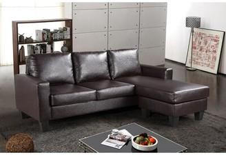 Charlton Home Bratton Reversible Sectional Fabric: Cappuccino Faux Leather