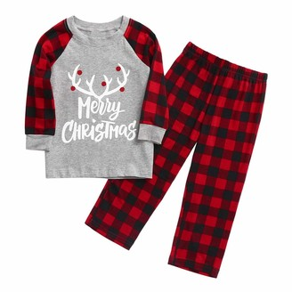 kolila Family Pyjamas Matching Christmas Pjs Baby Pajamas Sets Elk Plaid Print Tee and Pants Loungewear Sleepwear Set(RedChildren 6Y)