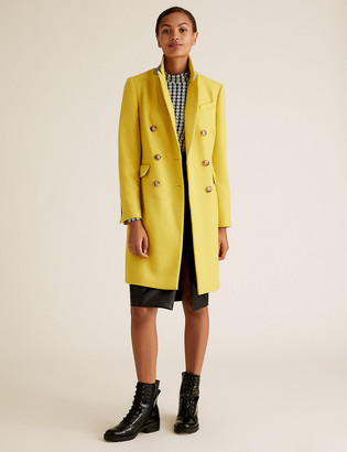 Marks and Spencer Waisted Tailored Coat with Wool