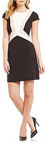 Vince Camuto Cap Sleeve Geo Block Shift Dress