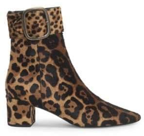 Saint Laurent Joplin Leopard Print Suede Booties