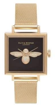 Olivia Burton Analog Bee Goldtone Mesh Bracelet Watch