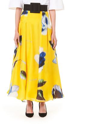 Carolina Herrera Floral Print Silk A-Line Skirt