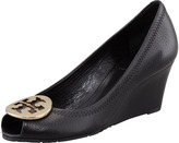 Tory Burch Sally 2 Leather Wedge Pump, Black/Gold