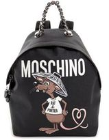 Moschino Slogan Faux-Leather Backpack
