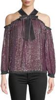 Needle & Thread Kaleidoscope Sequin Velvet Cold-Shoulder Top