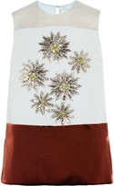 DELPOZO Embellished paneled crepe top