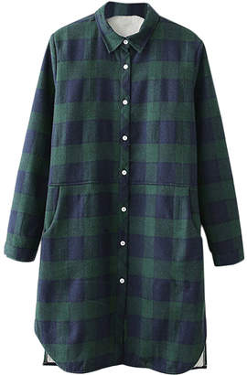 Cellabie CELLABIE Women's Button Down Shirts Green - Green & White-Button Plaid Button-Shirt Dress - Women