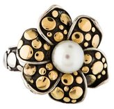 John Hardy Two-Tone Dot Ayu Pearl Flower Ring