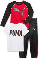 Puma 3-Pc. T-Shirt, Shirt & Pants Set, Little Boys (2-7)