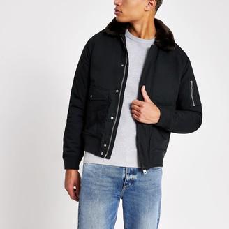 Schott Mens River Island Navy faux fur collar jacket