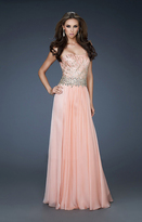 La Femme 18273 Beaded Strapless Chiffon A Line Gown