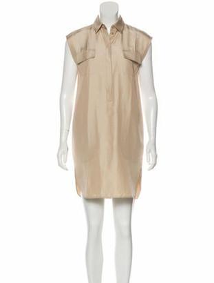 Giambattista Valli Silk Sleeveless Shirt Dress Tan
