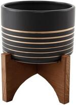 Black/Gold Ceramic Planter